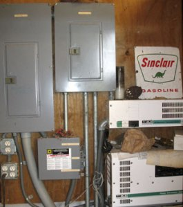 Barn breaker panels, A-B switch and inverter.