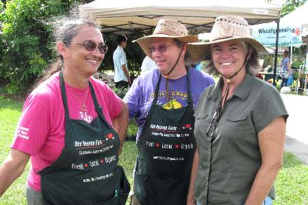 (L to R): Margie Pikarsky, Nick Pikarsky and Louise King of the Tropical Fruit Growers Association (GrowFest! 2012)