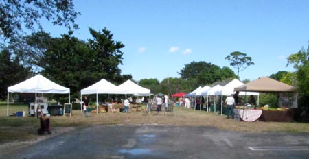 Vendors set up at the new Southwest Community Farmers' Market.