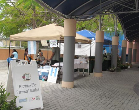 Three vendors at the Brownsville Farmers Market offer Argentinean empanadas, fresh local and organic produce from Urban Oasis Project, and Tommie's Gourmet Comfort Food.