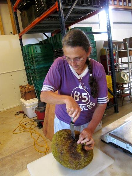 Farmer Margie Pikarsky starts opening up a jackfruit.