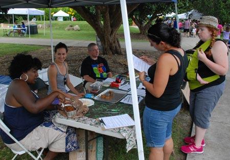 Kamala Fletcher, Christiana Serlé, and Mike Moskos of the South Florida Food Policy Council