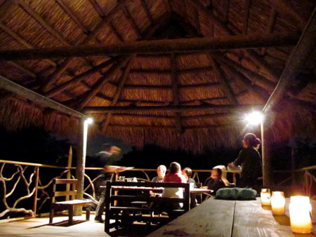 Dining upstairs in the Tiki Hut.