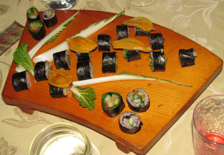 Tropical vegetarian sushi.