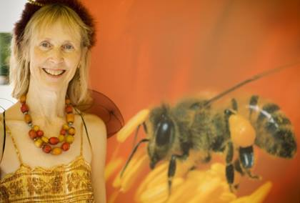 Beekeeper Debra Roberts and friend