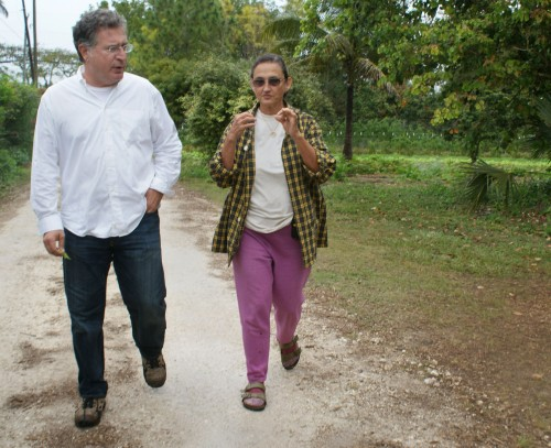 Joe Garcia and Margie Pikarsky walking and talking at Bee Heaven Farm. Photo by Nicole Fiori.