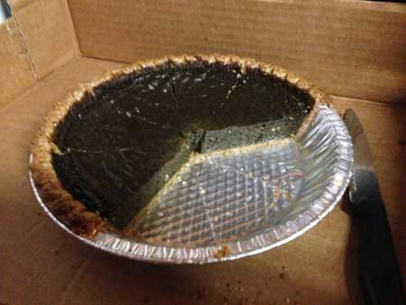 Black sapote pie getting gobbled up by the farm crew. Only crumbs were left.